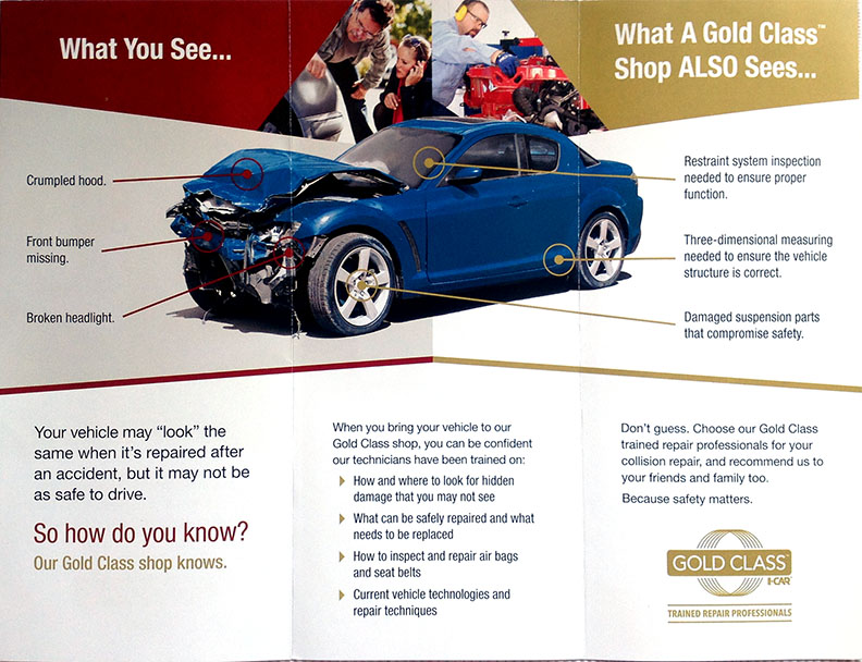 Photo of Gold Class I-Car brochure inside comparing what you see and what a Gold Class shop sees