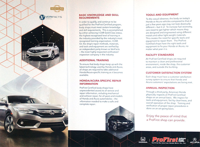 Photo of ProFirst Certified Auto Body Repair Shop Brochure